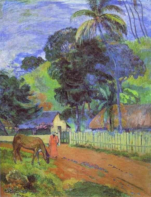 Horse on road tahitian landscape 1899 the pushkin museum